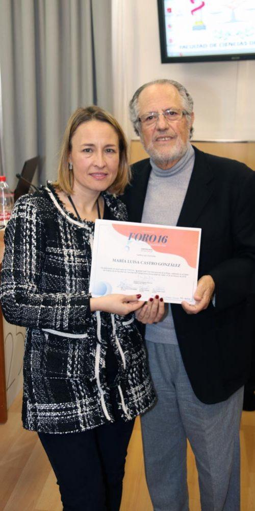 Manuel Domínguez y la profesora Carmen Ferradáns